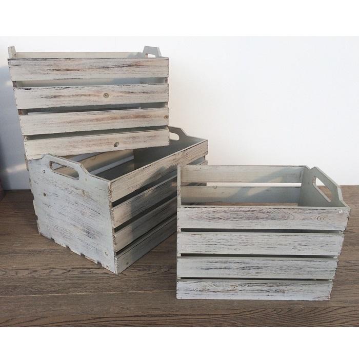 アンティーク木箱 3個セット エイジングホワイト エイジング塗装 ヴィンテージ木箱 ボックス