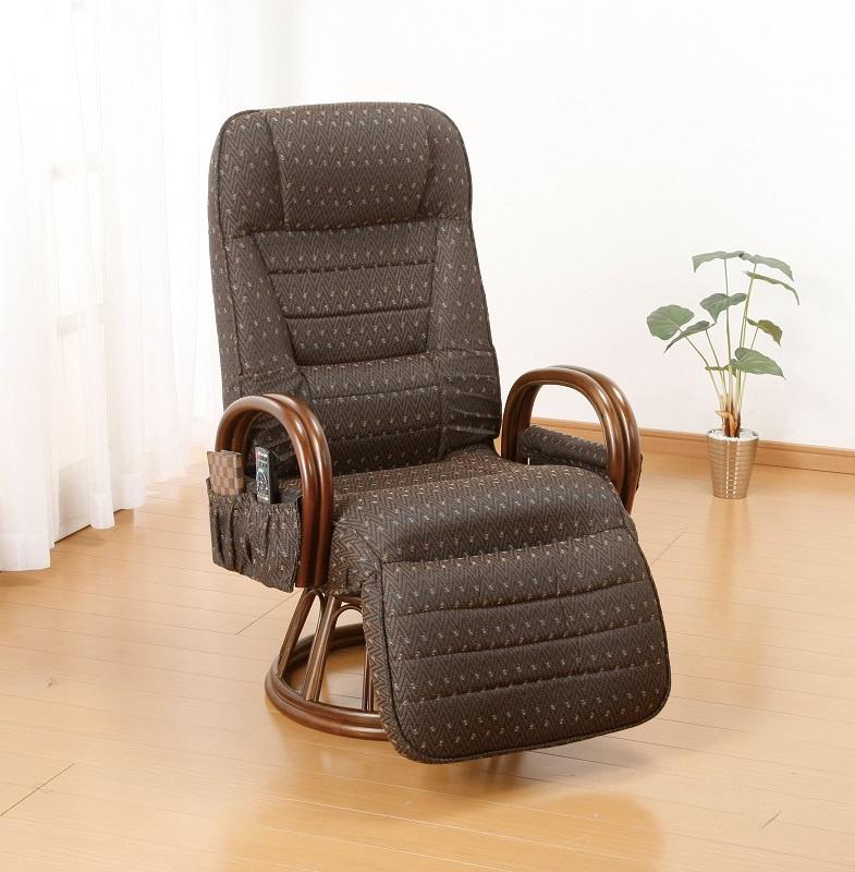 高座椅子 フットレスト付き 天然籐フットレスト付き回転高座椅子 背部6段階リクライニング、脚部7段階リクライニング