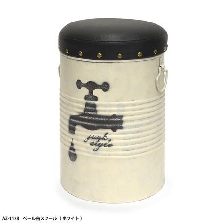 スツール ペール缶スツール ホワイト