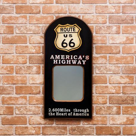 ウォールミラー 壁掛けミラー パブサイン ミラー 鏡 GASOLINE ROUTE66 TEXACO アメリカン雑貨