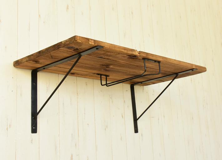 ウォールシェルフ ワインホルダー付き 60×36 アンティーク風 棚 古木風 壁掛けシェルフ 棚板 幅60