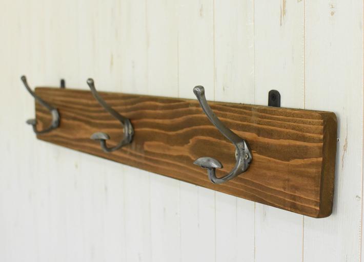 ヴィンテージ風 ウォールラック ウォールフック 3連 幅90cm アイアンフック シルバーフック シャビー オシャレ アンティーク調 壁掛けフック 大型