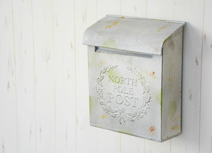 アウトレット 訳あり メールボックス アンティーク調ポスト 郵便ポスト ホワイト 壁掛けポスト シャビー