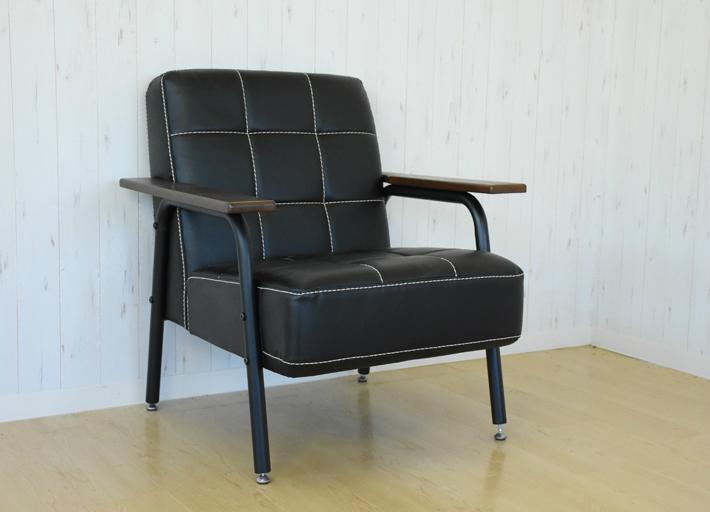 ヴィンテージ風 ソファ ブラック 1Pソファー 一人掛けソファー 肘付きソファー カフェ 店舗ソファー インダストリアル PVCレザー