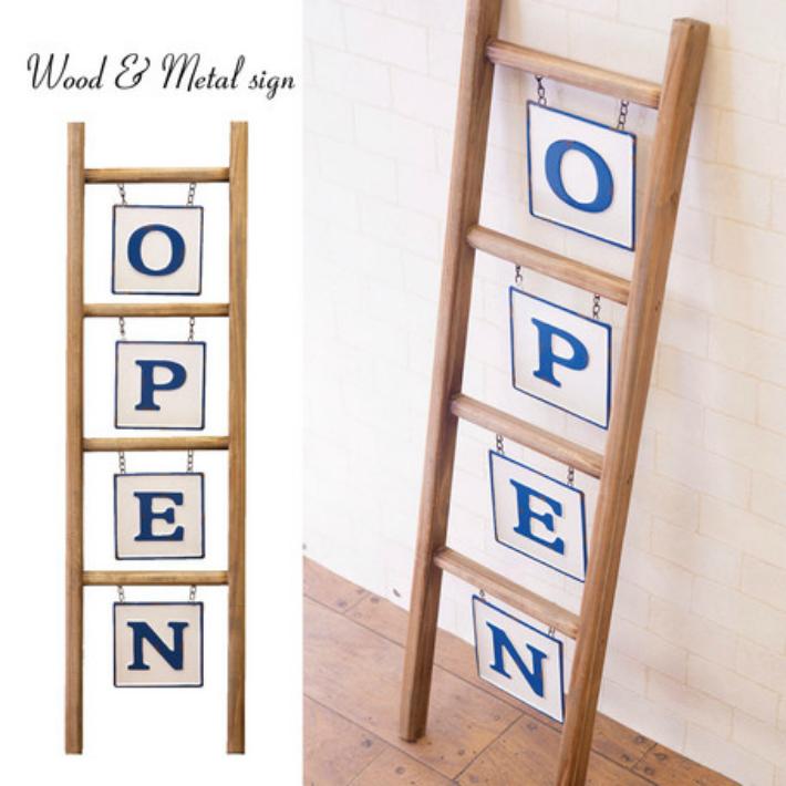 OPEN ラダー ウッド&メタルサイン[OPEN]店舗看板