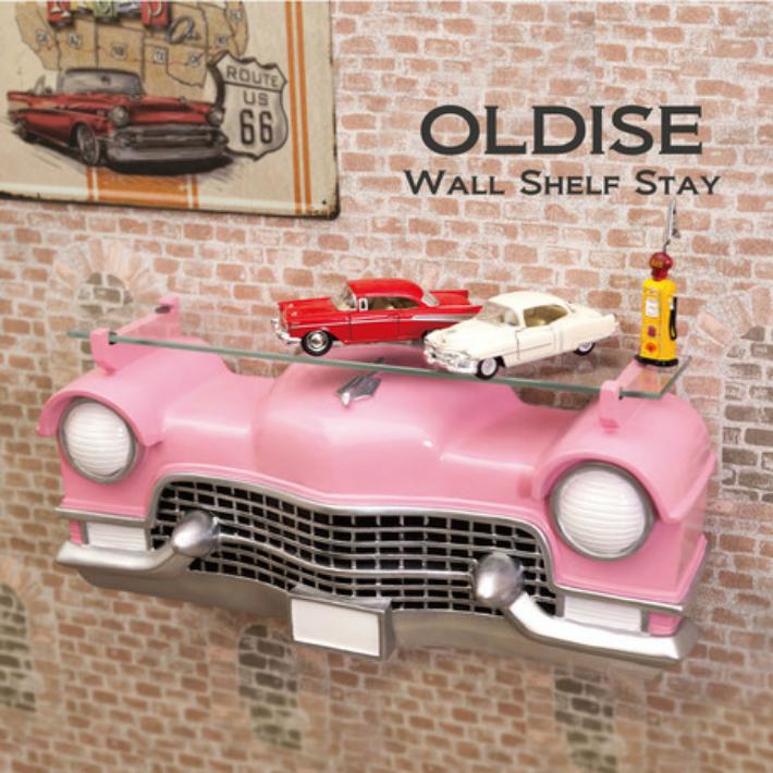 ウォールシェルフ ピンク オールディーズ[CAR HEADシェルフ(PINK CAR)]<アメリカン雑貨>