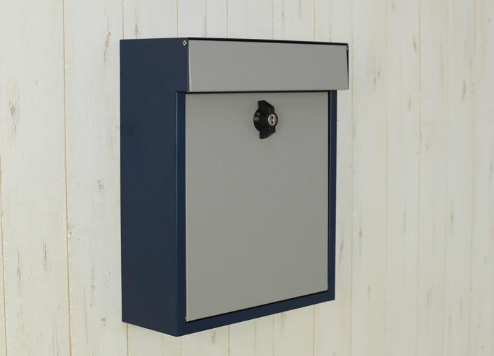 【送料無料】メールボックス ネイビー グレー バイカラーポスト ネイビー/グレー 郵便ポスト 壁掛けポスト