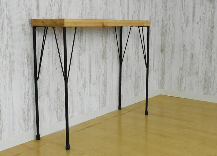 コンソールテーブル 天板極厚43mm オールドパイン 幅90cm テーブル天板とアイアン脚セット アンティーク風テーブル 店舗テーブル 店舗展示台 カフェテーブル カウンターテーブル ナチュラル