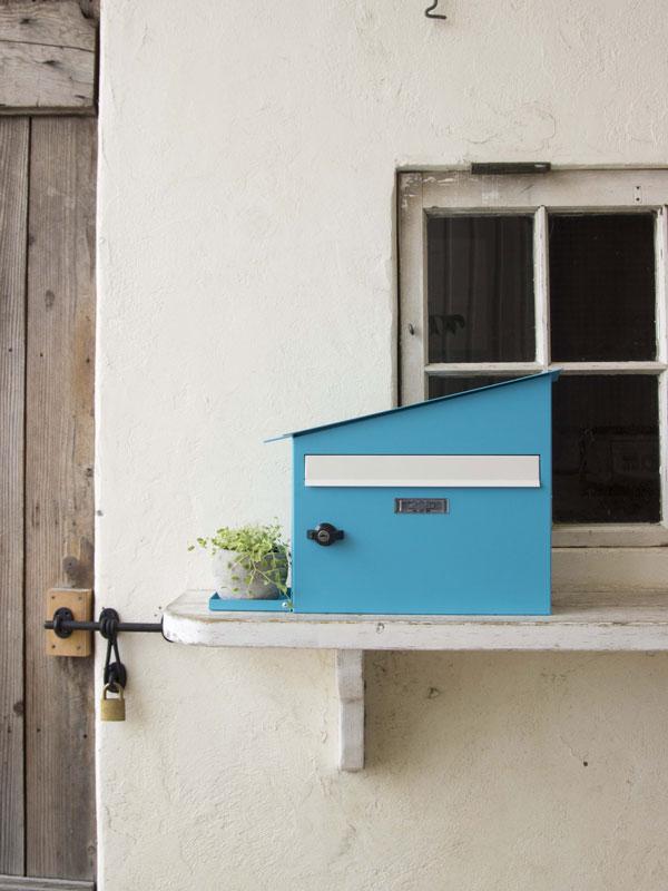 メールボックス ブルー ハウスポスト ライトブルー 郵便ポスト 壁掛けポスト