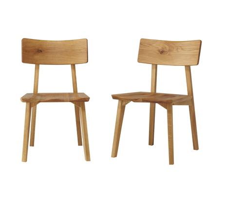 【送料無料】オーガニック ダイニングチェアー 2脚セット 天然木ナラ無垢材 オークムク材 椅子