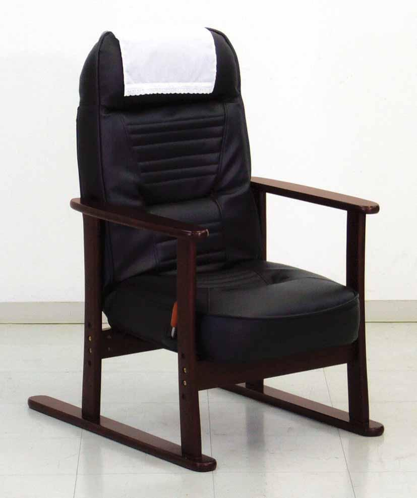【送料無料】ブラックレザー 高座椅子/レバー式無段階リクライニング式座いす/リクライニングチェアー/高座いす/座イス