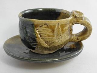 織部 コーヒーカップ &ソーサー ギフト 定年退職 記念品 餞別 退職祝い 還暦祝い 定年祝い 結婚祝い 1品限定iko-1