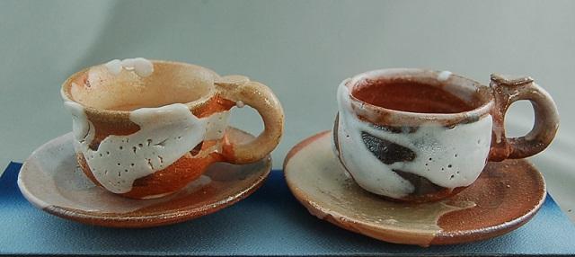 志野 夫婦 コーヒー カップ &ソーサー 紅茶カップ ギフト 還暦祝い 退職祝い 定年祝い 結婚祝い 誕生日 クリスマスプレゼント 金婚式のお祝いの贈り物に♪文部大臣奨励賞受賞 木箱付き 1品限定 ckos-11