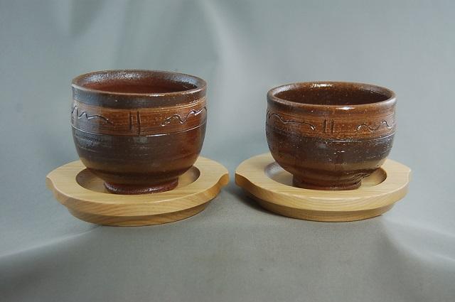 dyus-10 陶芸作家 荒川明作 薪窯 焼締 夫婦丸湯のみ 木箱付き こだわりのギフト 還暦祝いなどの 贈り物に最適 【送料無料】 【無料ラッピング承ります】