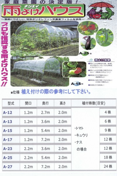 雨よけハウス ナンエイ A-23 温室 (間口2.2m×奥行3.6m)