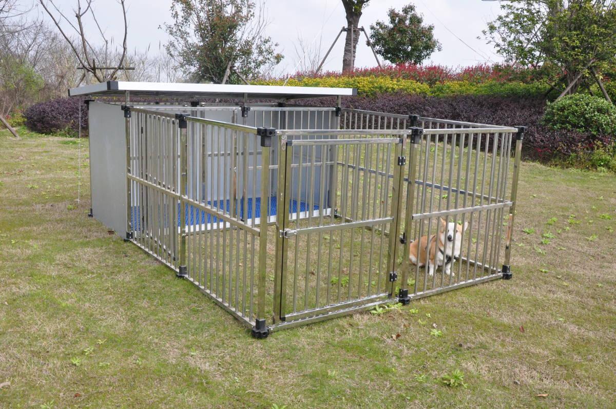 ステンレス製ドッグハウス DFS-M1 (0.5坪タイプ屋外用犬小屋)+マルチサークルハウス DFS-C1中型犬  大型犬 【送料無料】【5倍】【20200704】 お買い物マラソンxポイントアップ