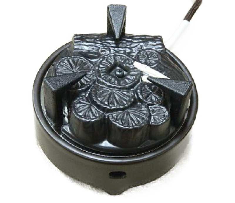 送料無料 ヤマキ電器 茶道具 表千家ほか 遠赤外線 炭型ヒーター 電熱器風炉用 五徳付き 電気炭YU002-C3P強弱切替スイッチ付