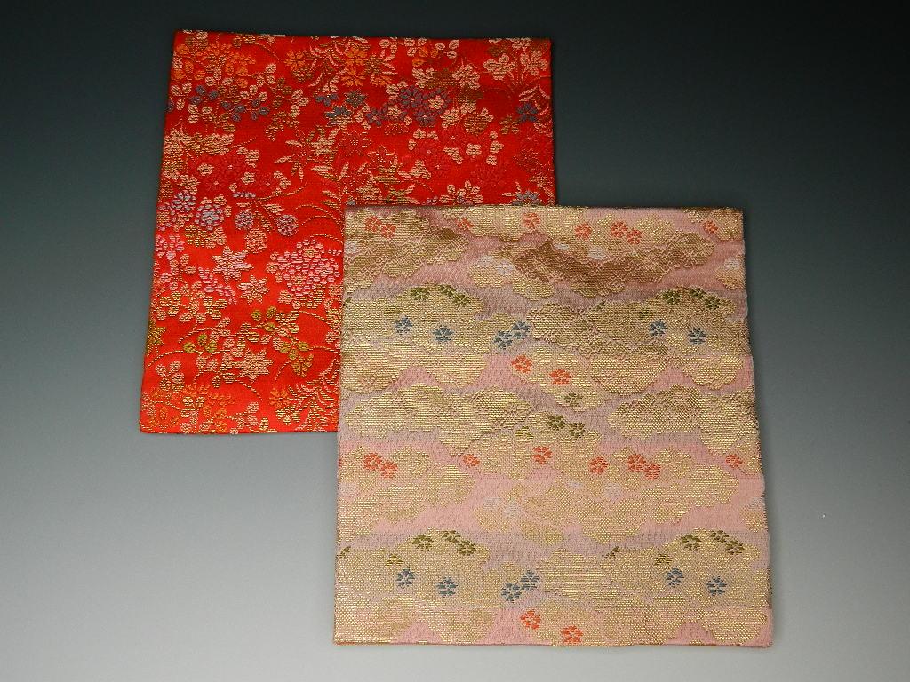 茶道具 茶道こふくさ 柄おまかせ おすすめ特集 古袱紗 古帛紗 敷物にも 古服紗 高級品 赤色 人絹 ピンク色からお選びください