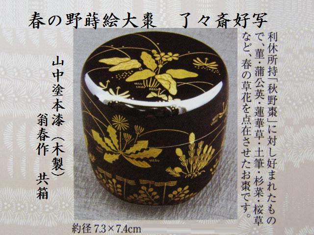 【茶道具/なつめ茶器】春の野蒔絵大棗 了々斎好写 翁春作 共箱