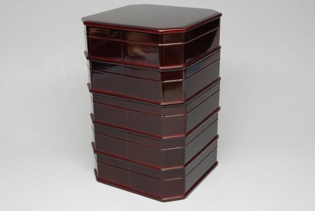 【茶器/茶道具・懐石道具】 日本製 縁高重 木製真塗本漆溜塗り