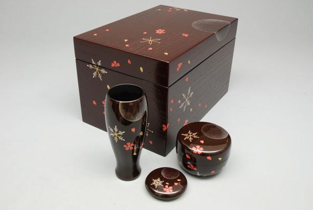 【茶道具/茶箱】 茶箱セット 雪月花蒔絵 溜