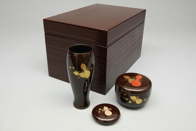【茶道具/茶箱】 溜筋入り茶箱セット ひさご蒔絵