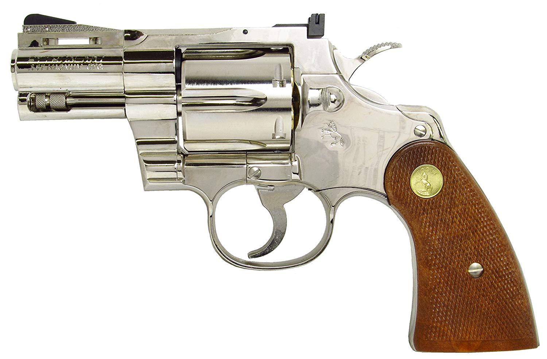 あす楽対応/タナカ コルト パイソン .357マグナム 2-1/2インチ Rモデル ニッケル フィニッシュ モデルガン