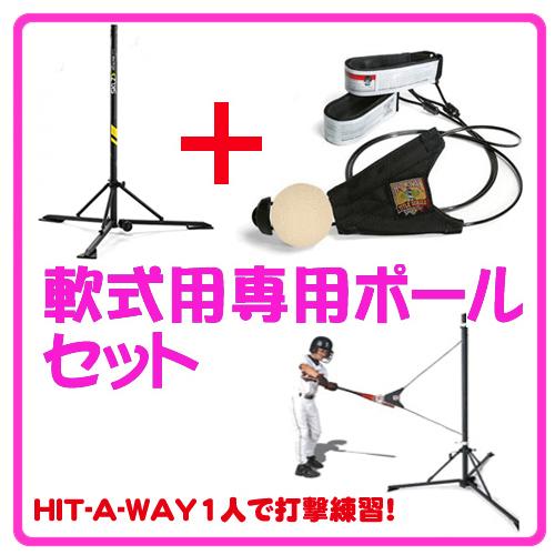 ヒットアウェイ専用ポール&軟式セット(Hit-A-Way 打撃練習ツール)ポール軟式セット