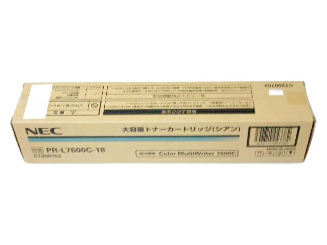 NEC PR-L7600C-18 シアン 純正品■製造年月日2018年1月 ■外箱若干汚れあり【中古】