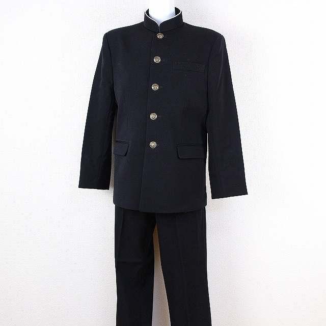学生服 標準型学生服 上着 学ラン ラウンドカラー ウール混 カシドス 男子学生服 黒 TW7030【新品】