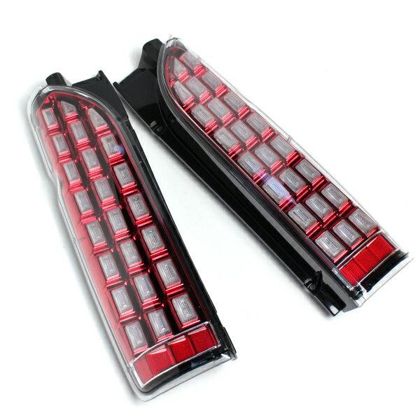 送料無料 ハイエース 200系 LEDテールランプ フルLED シューティングテールランプ 流れるウインカー カスタムパーツ 全年式 標準 ワイド 1型 2型 3型 4型
