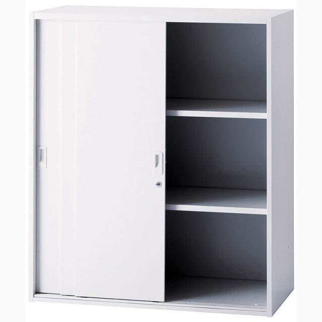 【代引き不可】井上金庫 3枚引き違いスチール書庫 H1050 ミルクホワイト 上置き・下置き可 IC-0910S3【新品商品】