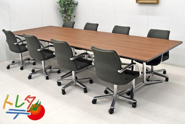 オカムラ 大型会議テーブル+チェア 9点セット W3600 2017102404【中古オフィス家具】【中古】