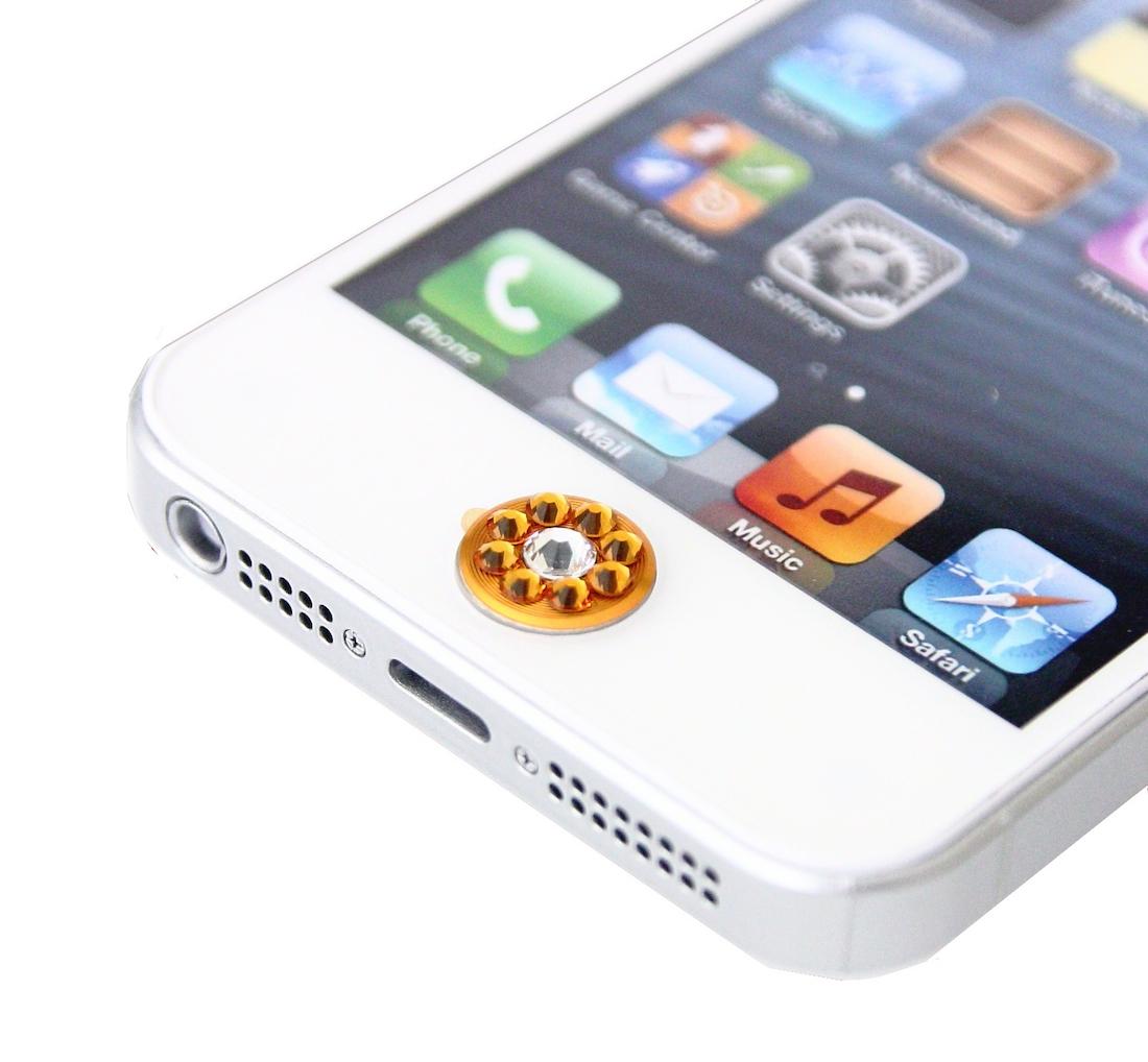 【スワロフスキー】Swarovski Crystal Ring Home Button (Orange × Crystal 大)【iPhone/iPad用ホームボタン】