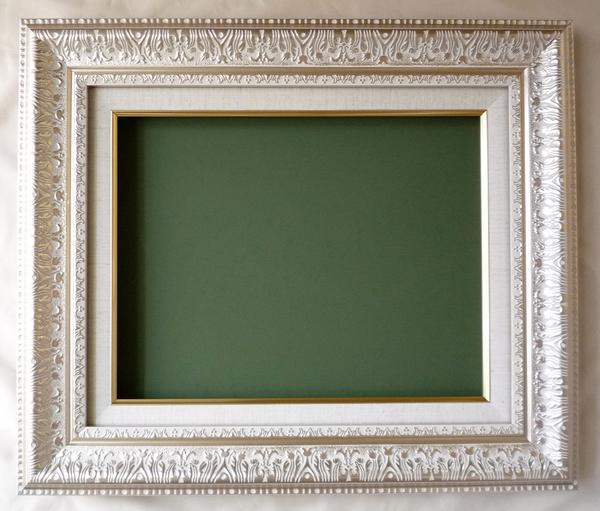 油絵 油彩額縁 (アート フレーム) MJ108 F8 シルバー -新品-特価品