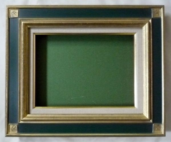 油彩額 油絵用 額縁 ( 宮廷 ) F20 (P20) 金+緑 新品