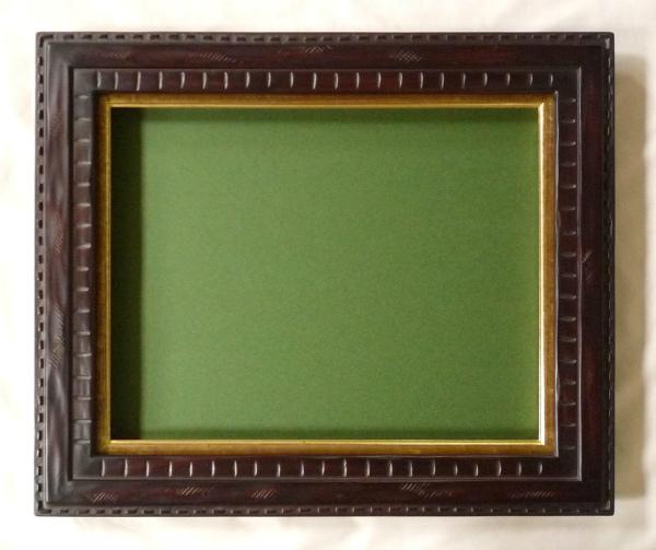 油彩額 油絵用額縁 囲炉裏マットなし F8 (P8,M8) 鉄黒 -新品