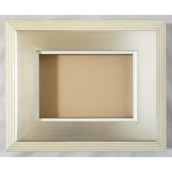 油彩額 アートフレーム 油絵用額縁 亜土マットなし F4 銀+アイボリー -新品