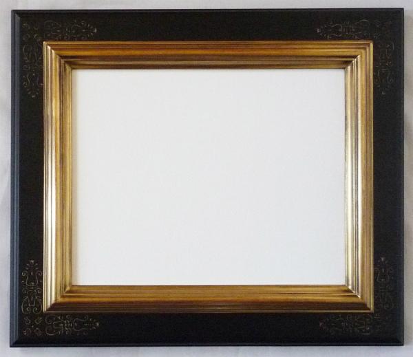 デッサン用 額縁 ピエール水彩 半切(545X424mm) 金+黒 -新品