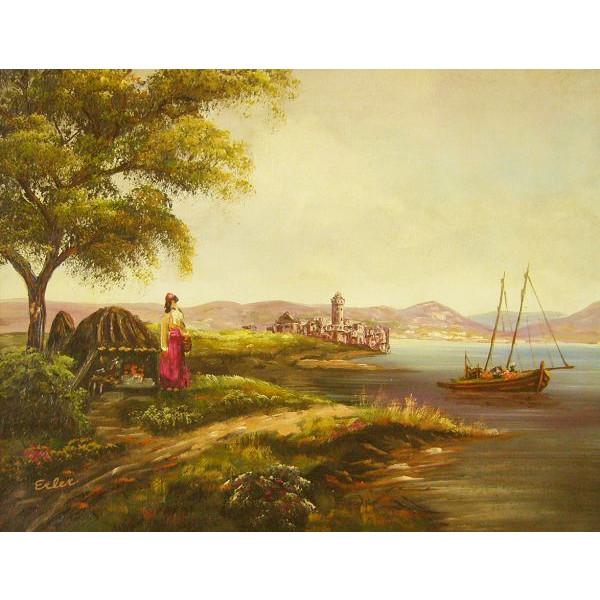 油絵 肉筆絵画 F6号(絵寸410X318mm) イエラー作 「風景1」 木枠付-新品