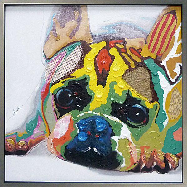 油絵 額装 肉筆絵画 オイル ペイント アート「カラフルブルドッグ」OP-25026-新品