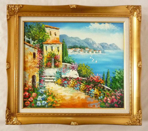 額装油絵 油絵 肉筆絵画 F10 「地中海」 フジヤマ 9232G-新品