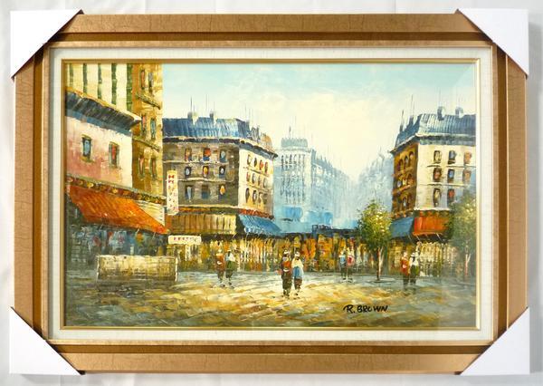 額装油絵 肉筆絵画「パリの街並み」- M20 -292-新品 -特価品