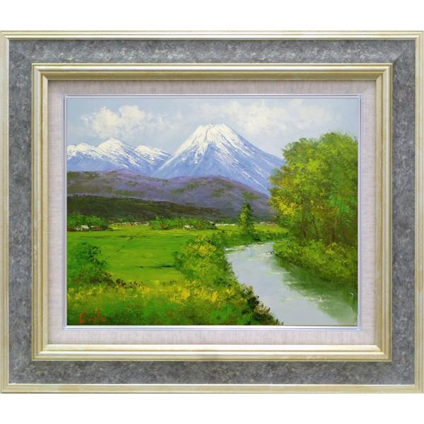 額装油絵 油絵 肉筆絵画 F6 「安曇野2」 遠藤 勝 -新品