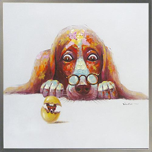 油絵 額装 肉筆絵画 オイル ペイント アート「エッグ ドッグ」OP-25055-新品