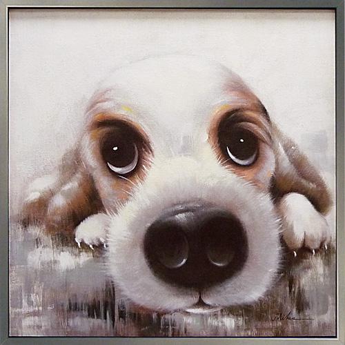 油絵 額装 肉筆絵画 オイル ペイント アート「ラブリー パピー」OP-25016-新品
