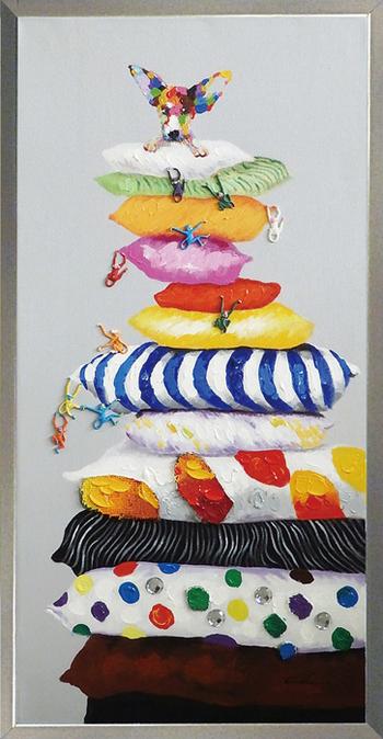 油絵 額装 肉筆絵画 オイル ペイント アート「クッション ドッグ」OP-22014-新品