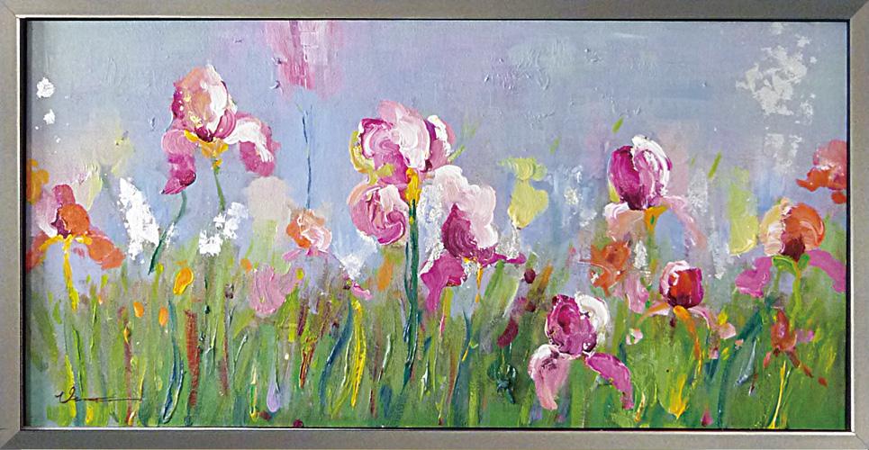 油絵 額装 肉筆絵画 オイル ペイント アート「フィールド フラワー」OP-22006-新品