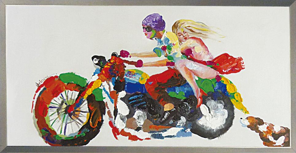 油絵 額装 肉筆絵画 オイル ペイント アート「グッド ライバル」OP-22010-新品