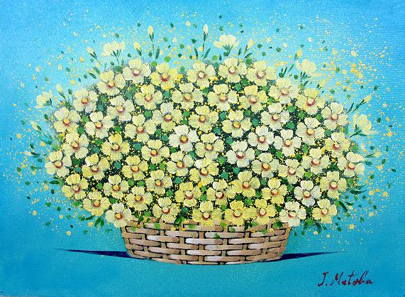 油絵 肉筆絵画 F4サイズ 「黄色い華」 的場 錠 木枠付 -新品